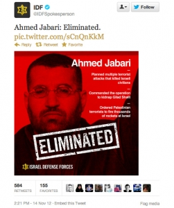 IDF tweet on Ahmed Jabari elimination