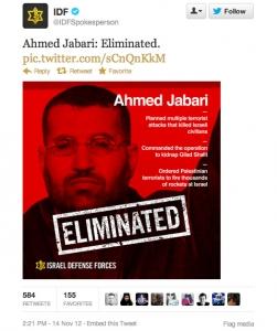 IDF tweet on Ahmed Jabari elimination