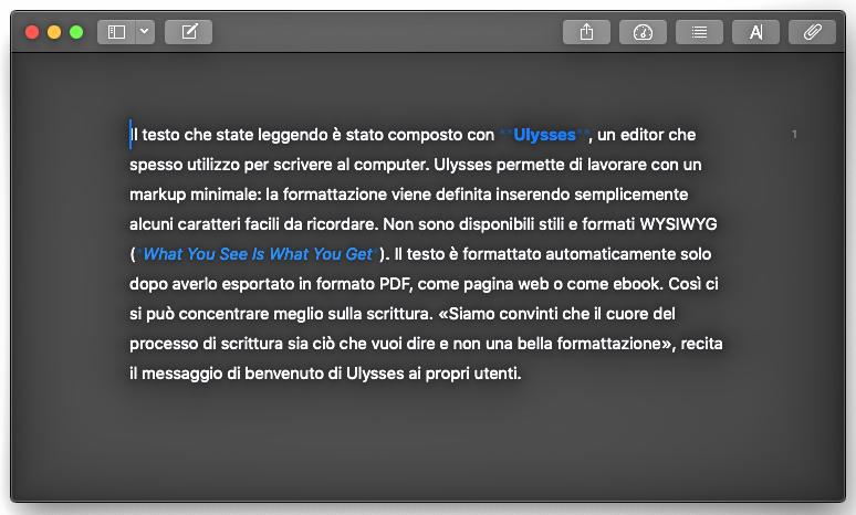 Interfaccia di videoscrittura di Ulysses.